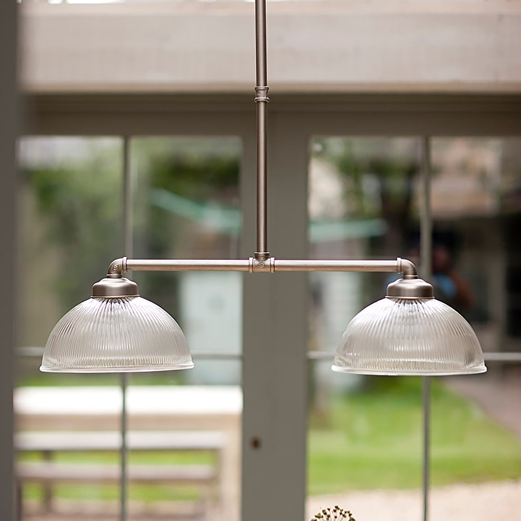 Adjustable Double Paris Glass Pendant Light in Silver | Garden Trading
