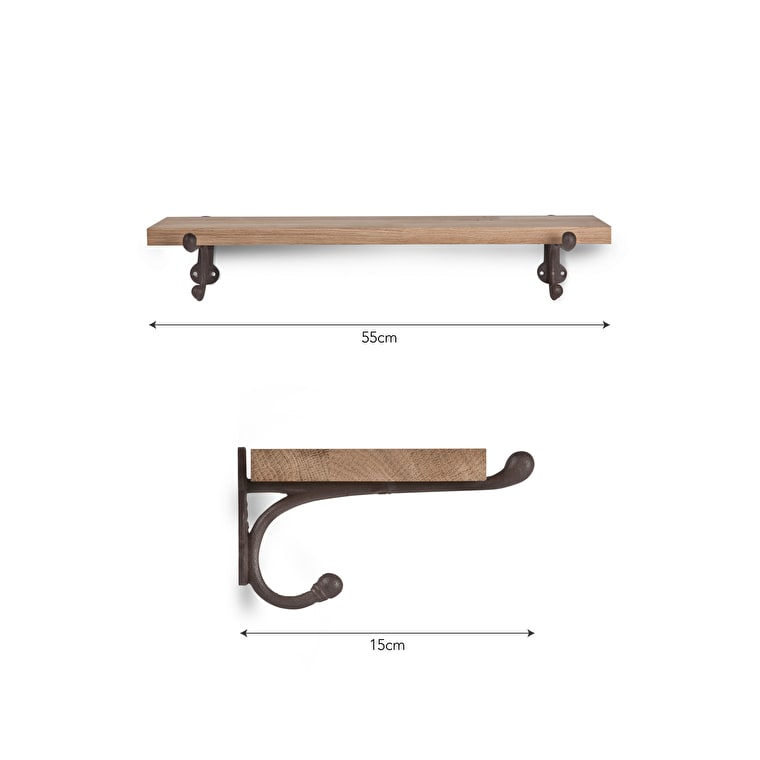 Oak and Cast Iron Shelf in Small or Large | Garden Trading