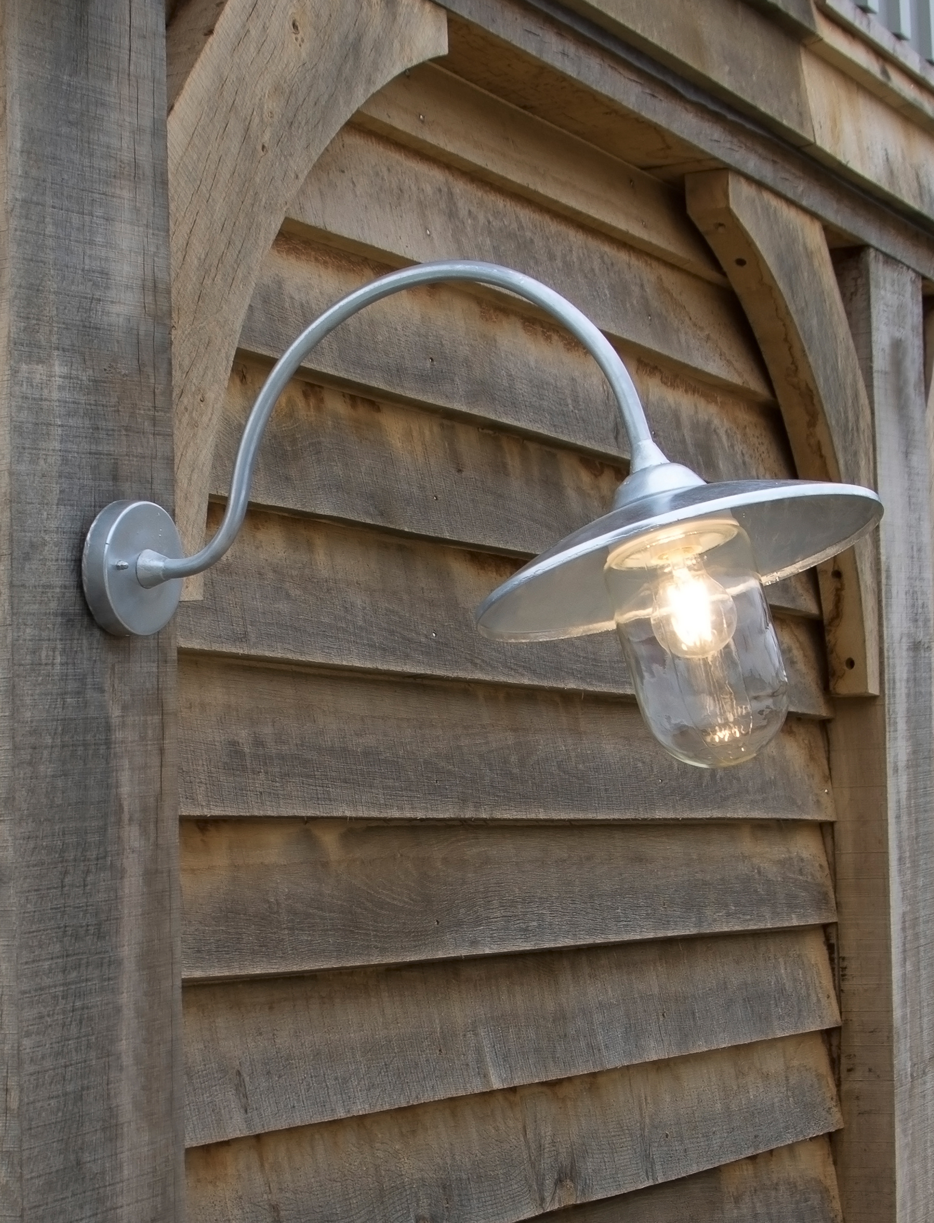 Arched Swan Neck Light in Silver | Garden Trading