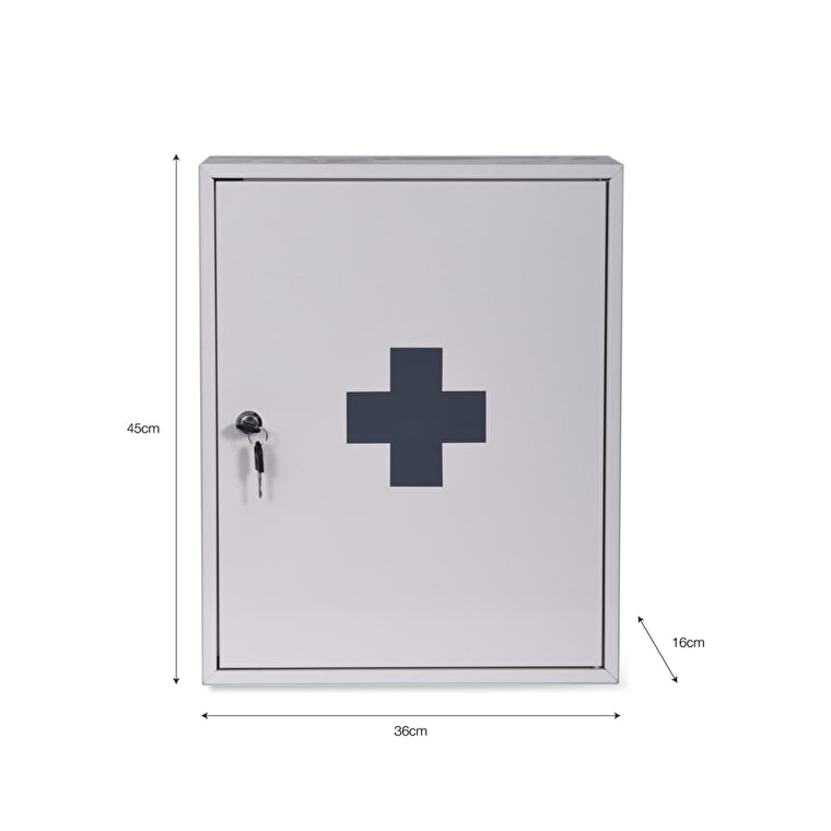 Steel First Aid Wall Cabinet in White  | Garden Trading