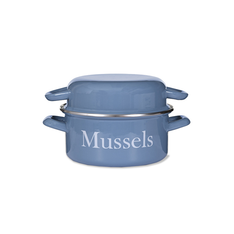 Enamel Mussel Pot in Blue   | Garden Trading