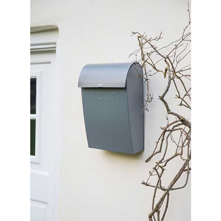 Extra Large Post Box with Lock in Grey | Garden Trading