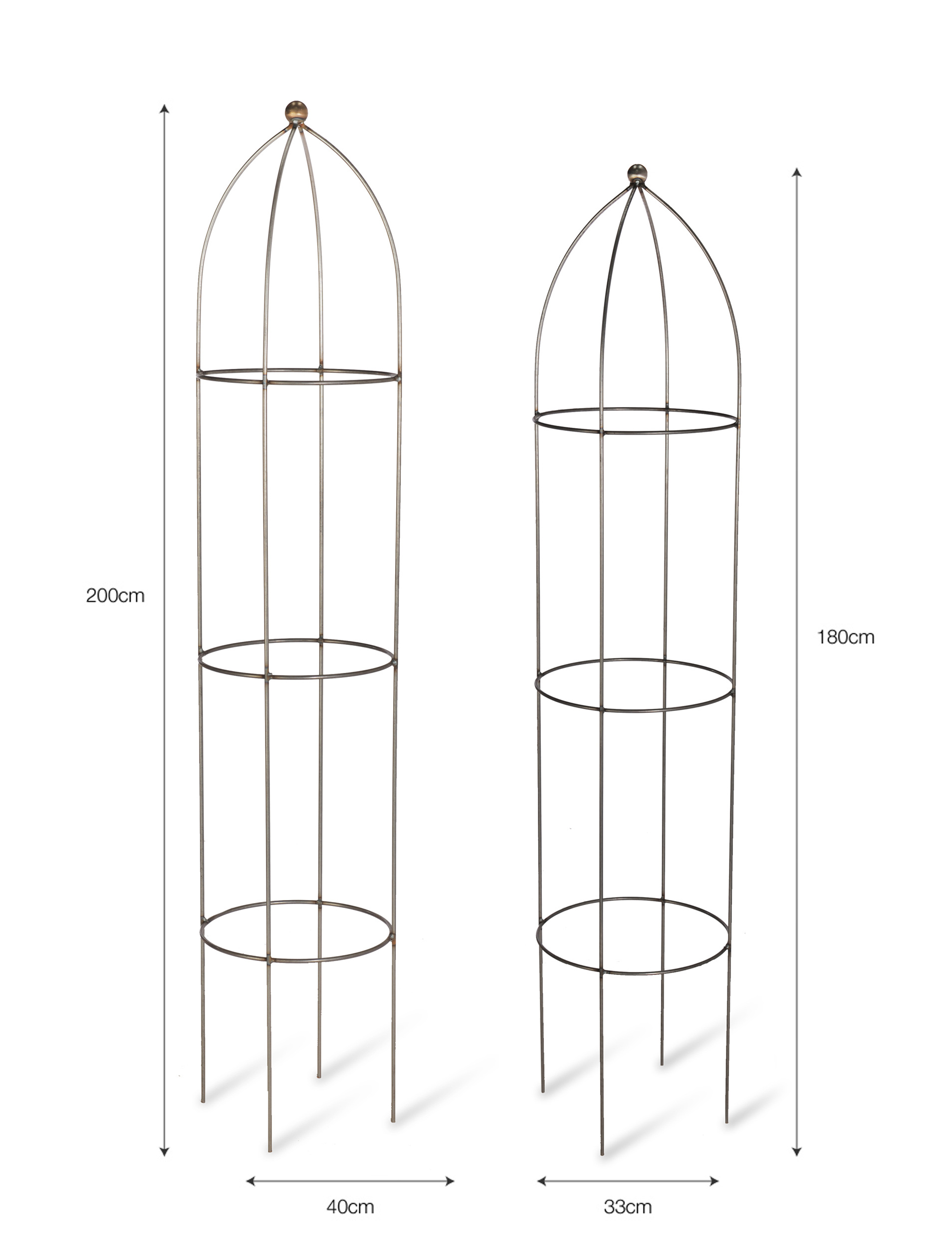 Set of 2 Raw Metal Barrington Obelisk Plant Supports |  Garden Trading