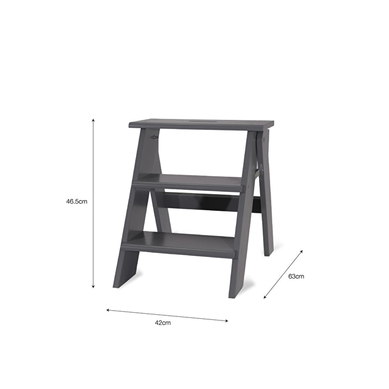 Wooden Step Stool in Grey | Garden Trading