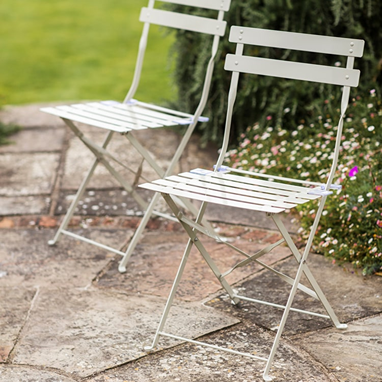 & Set of 2 Bistro Chairs in Grey Cream or Green | Garden Trading