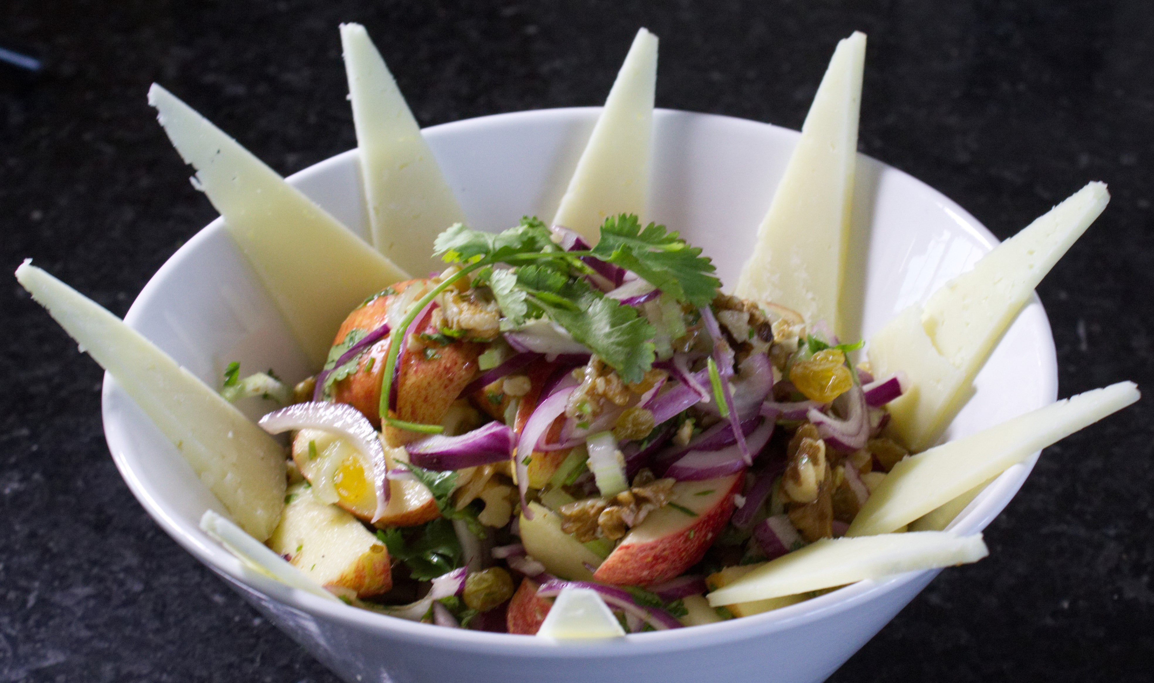 Red apple, celery, honey and walnut Salad