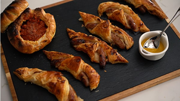 Spooky Sausage Rolls with Blood Sauce Cauldrons