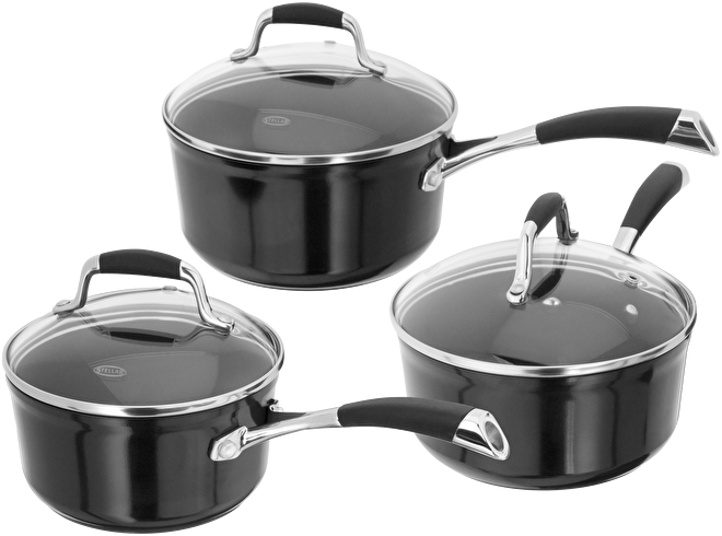 Stellar Forged, 3 Piece Saucepan Set, Non-Stick,