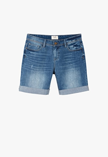 Long denim shorts in a slouchy fit with turned up hems