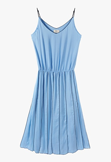 Gorgeous pleated panel dress in a stunning baby blue with a flattering v neckline