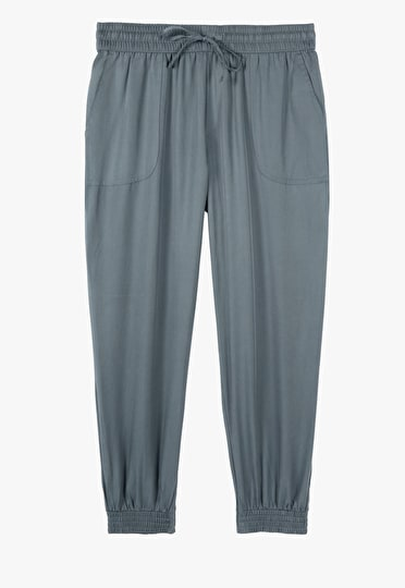 Relaxed fit sport look trousers with an elasticated waistband in slate blue