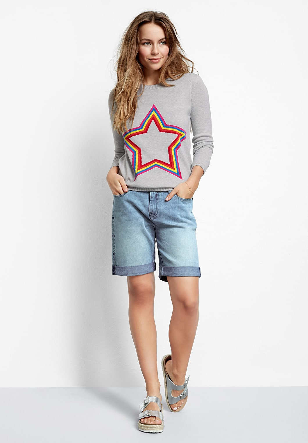 Star Embroidered Denim Shorts | hush