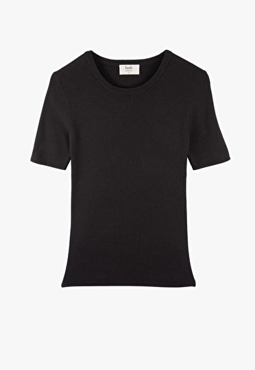 Stretch jersey ribbed top with a round neck and short sleeves in black