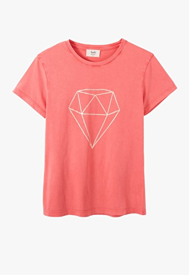 Printed diamond crew neck top in Guava and Rose Gold