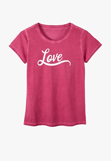 Bold slogan love tee in cardinal red and white