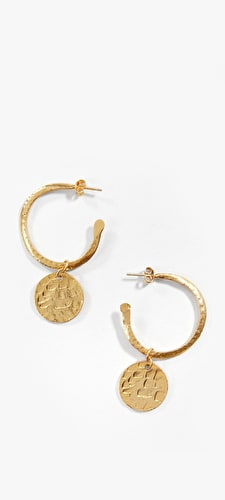 Chunky style hoop coin earrings in gold plated brass