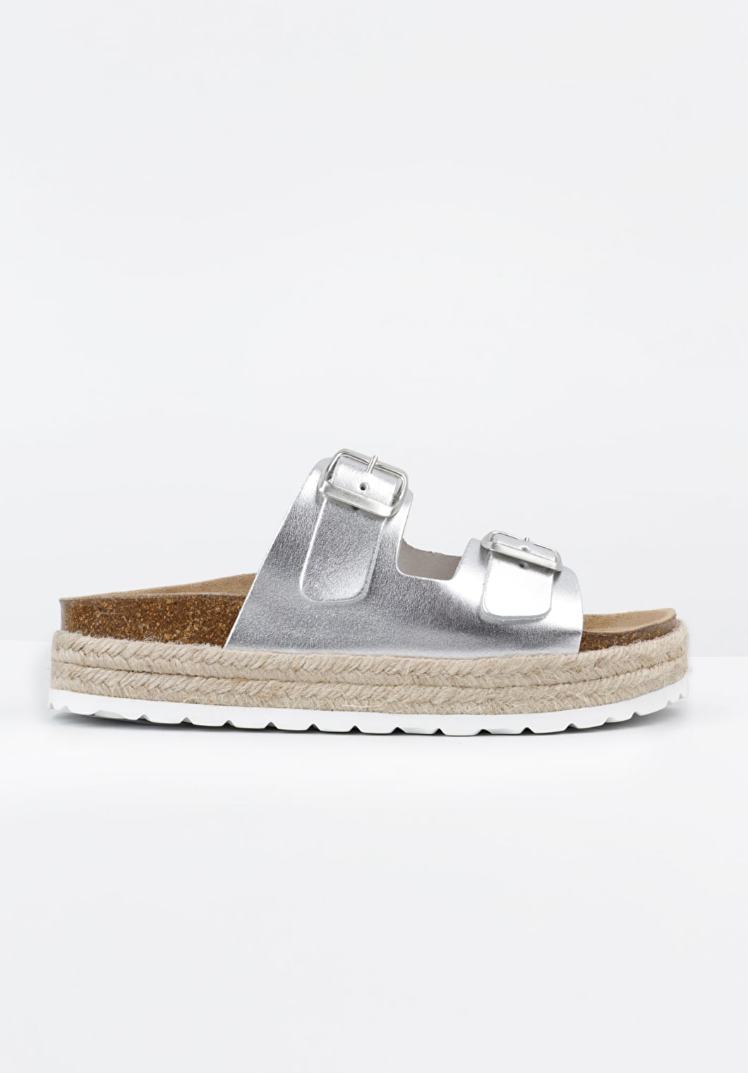 Slider style sandals with a moulded footbed with double buckle fastening in silver