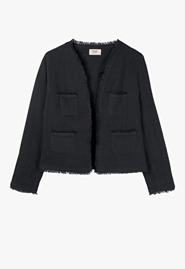 Ultra lightweight relaxed black jacket with frayed edge detailing