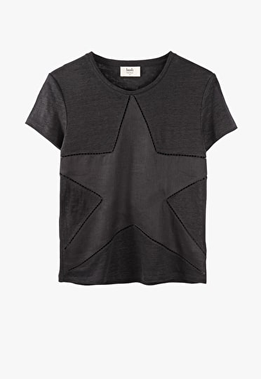 Relaxed oversized cut out star tee in black