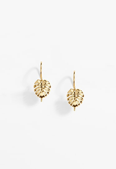 Banana leaf drop earring in gold plated brass