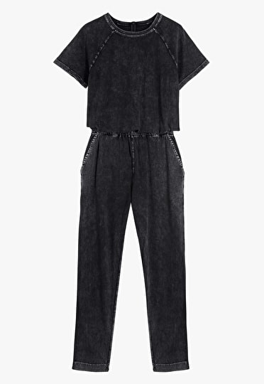 Lightweight jumpsuit with a tie waist in a washed out black