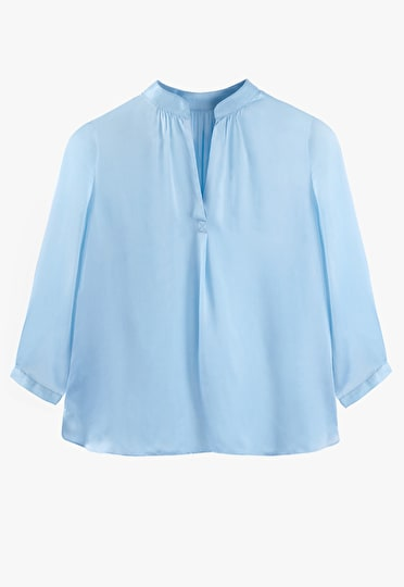 Draped style oversized v neck top in baby blue