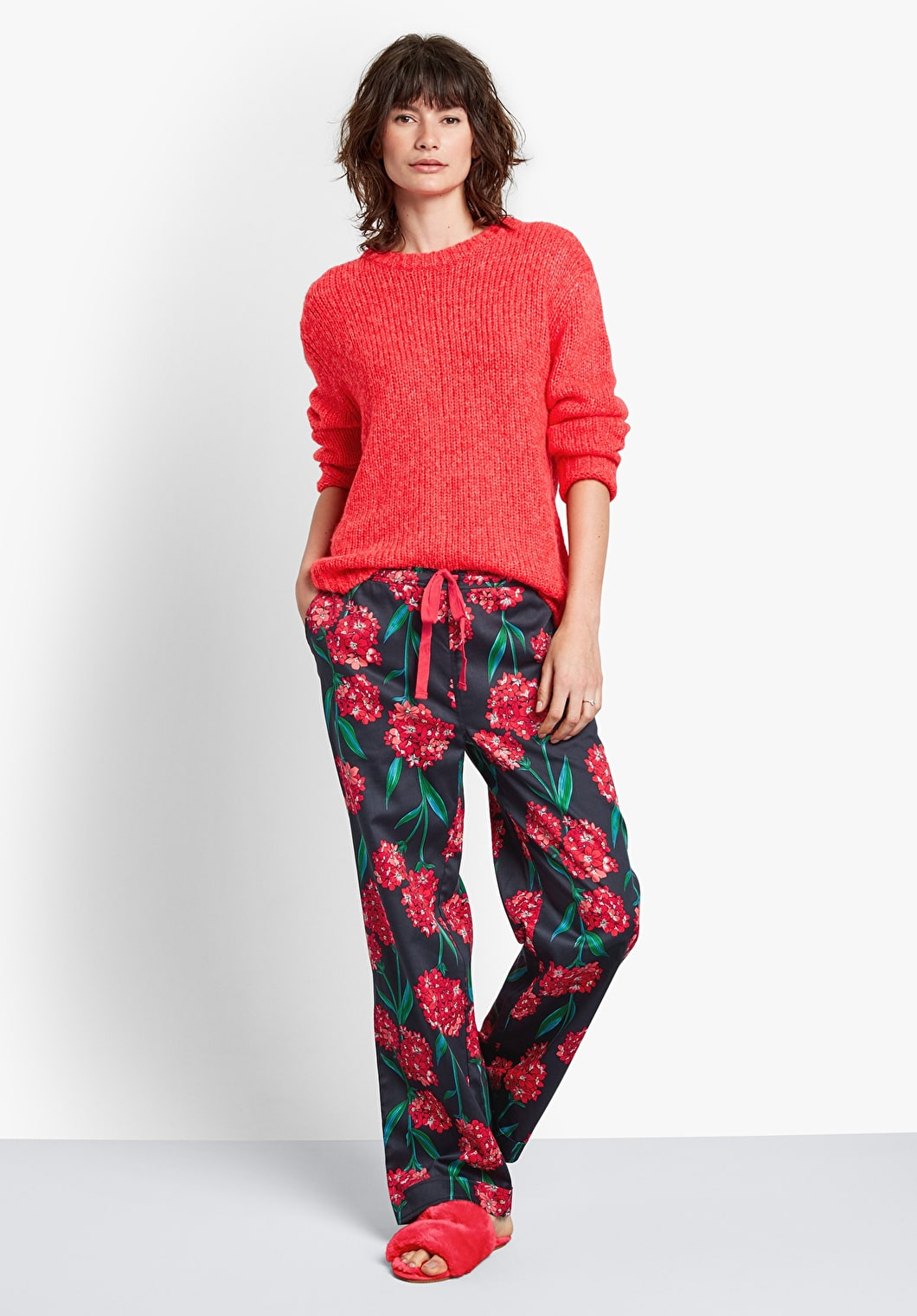 Red Flower Cotton Pj Trousers | hush