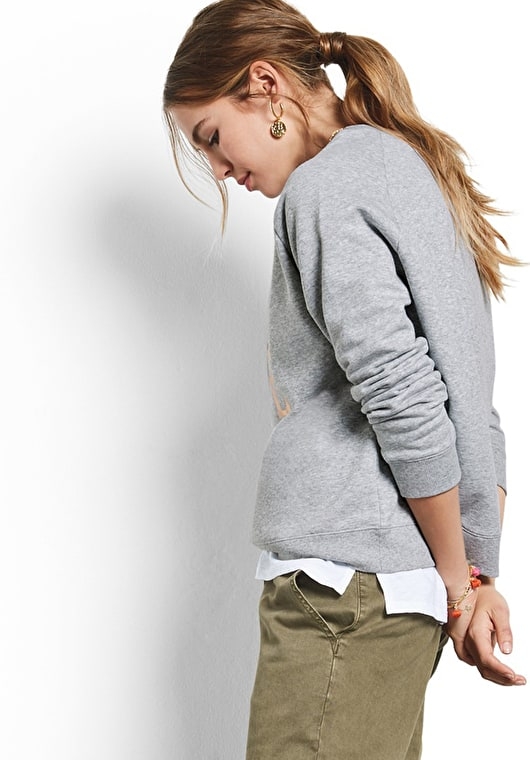 Model wears our Cool sweat top with a cool 60s inspired 'love' motif in grey marl and metallic gold
