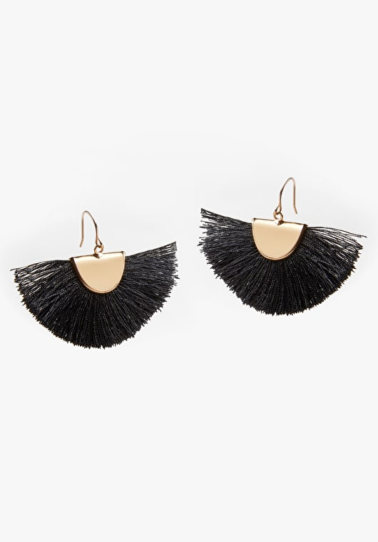 Stunning fan shaped black tassel earrings with gold plated brass