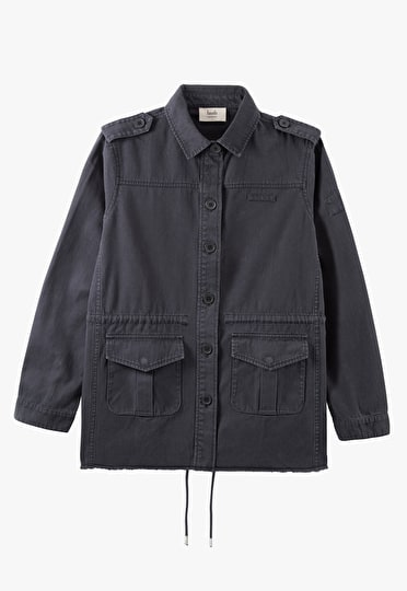 Long length military jacket in our stunnig washed black with epaulettes on the shoulders
