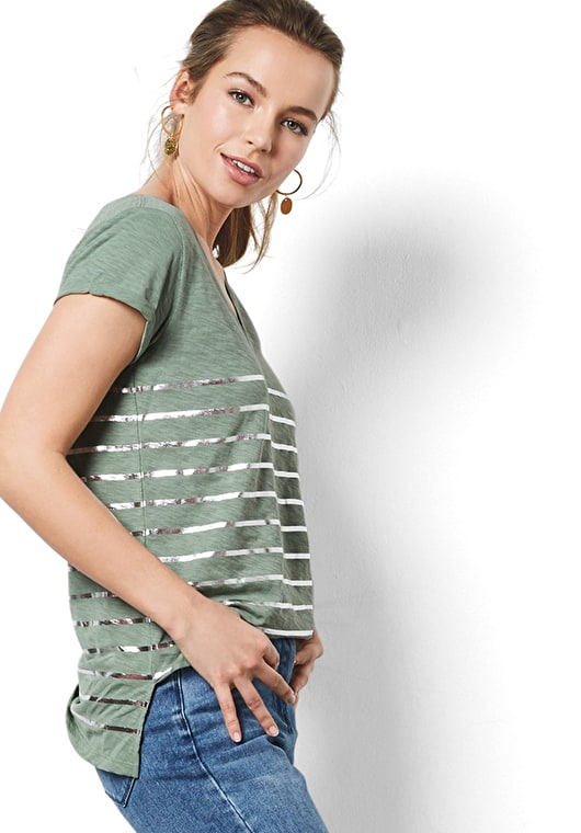 Model wears our V neck striped tee with rolled capped sleeves in granite green and metallic silver stripes