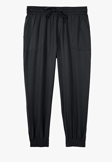 Relaxed fit sport look trousers with an elasticated waistband in black