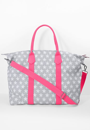 Grey and white star canvas holdall bad with pink handle and detatchable pink strap and a matching zip pouch