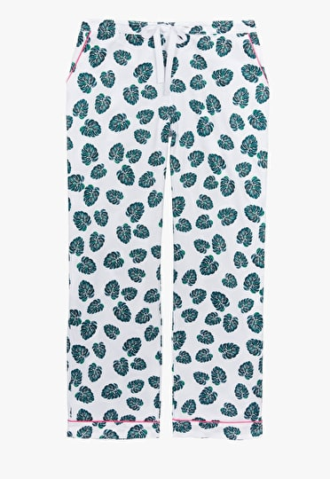Monstera leaf cotton print pyjama trousers in white and green