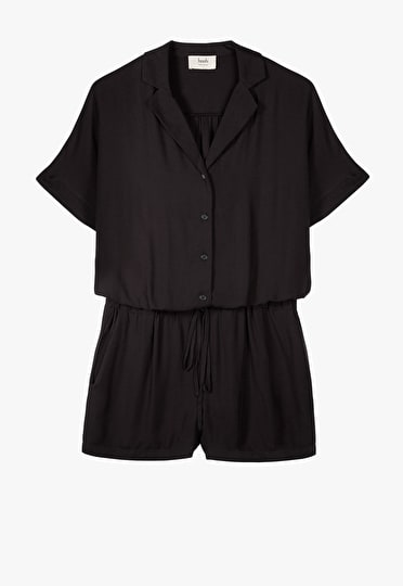 Short sleeve playsuit with a waist cinching tie and button up shirt in black