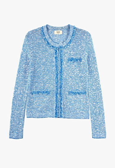 Soft knitted jacket with frayed edge detailing in a stunning french blue and white