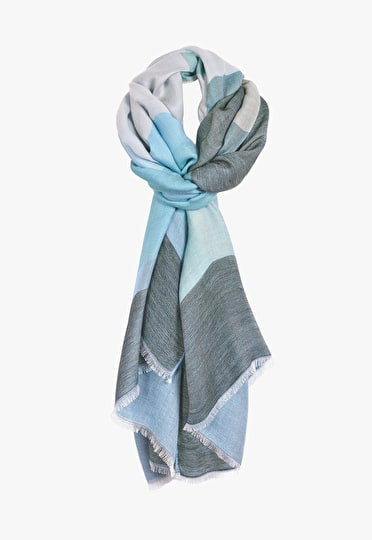 Super soft scarf with weaved in colour blocks of multi colours of blue