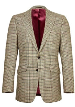 Green/Burgundy Dogtooth Check Tweed Jacket