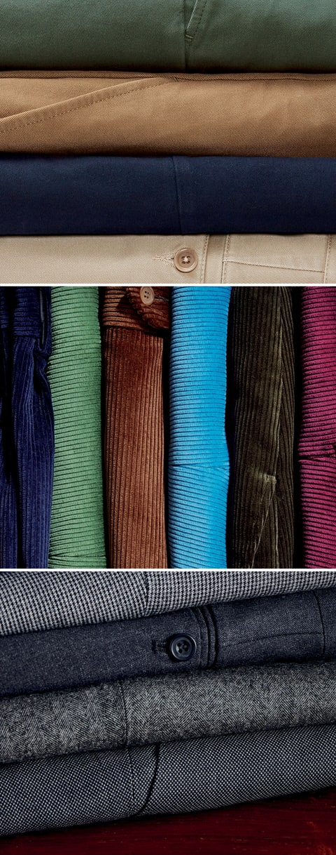 Put Your Best Leg Forward.  Quality Fabrics for Men's Trousers.