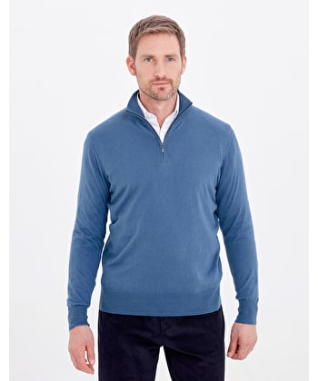Cotton/Cashmere - Half Zip - Blue