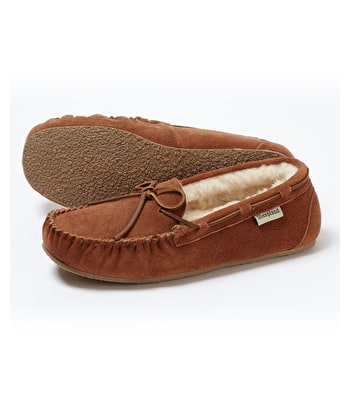Sheepskin Moccasin Slipper - Tan Suede