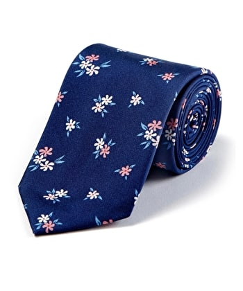 Pink Flower on Navy Printed Silk Tie