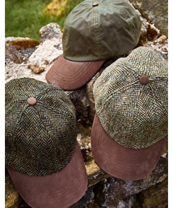 Peaked Cap - Light Green Harris Tweed