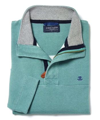 Washed Pique Half-Zip Sweatshirt - Aqua