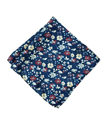 Silk Pocket Square - Red/Yellow Flowers on Navy