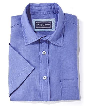 Linen Shirt - Short Sleeve - Pacific Blue