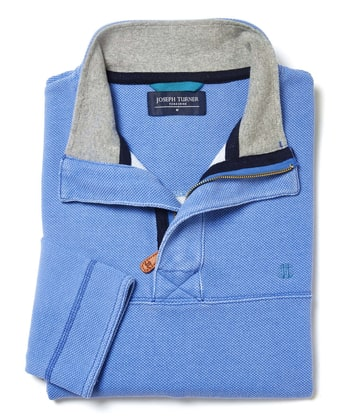 Washed Pique Half-Zip Sweatshirt - Mid Blue