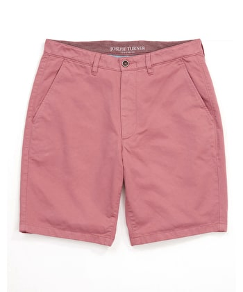 Cotton Twill Shorts - Flat Front - Soft Red