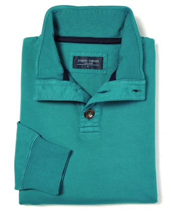 Button-Neck Sweatshirt - Teal