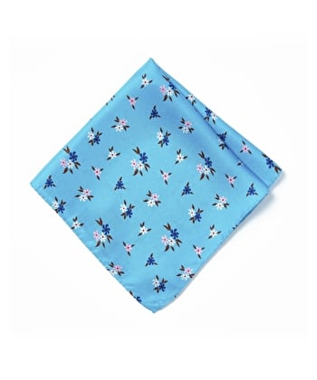 Silk Pocket Square - Pink/Navy Flowers on Sky